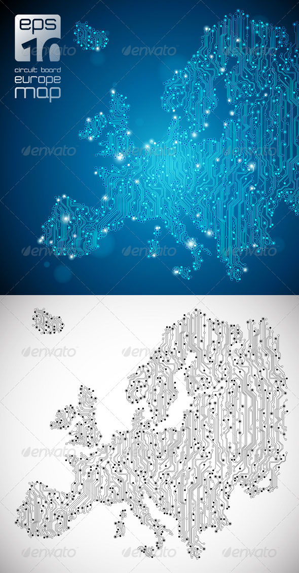 GraphicRiver Europe Map Circuit Board Abstract Background 576240