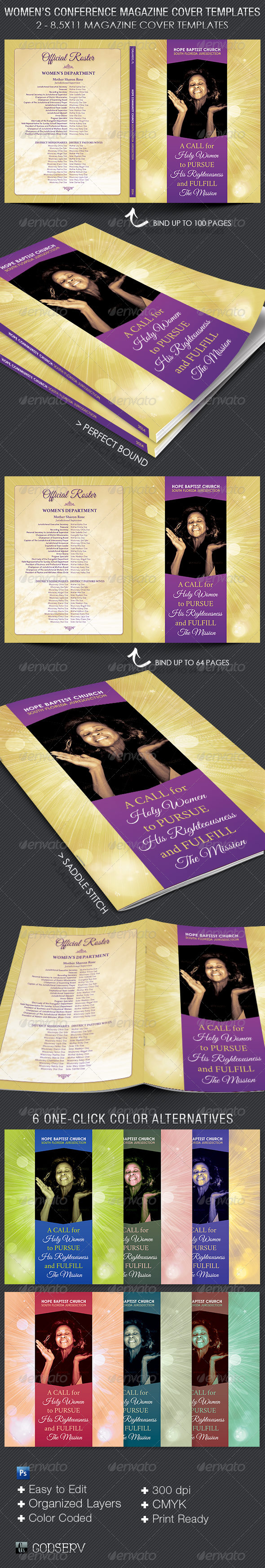 Print template graphicriver women 39 s convention magazine for Souvenir program template