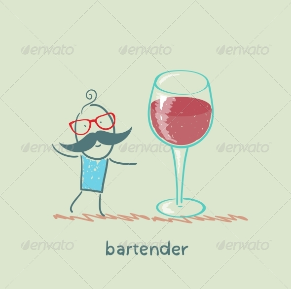 GraphicRiver Bartender Stands Next to a Large Glass of Wine 5617554