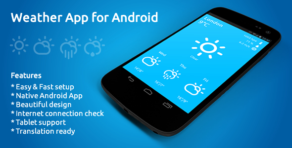 Weather App for Android - SiteTemplates, themeforest