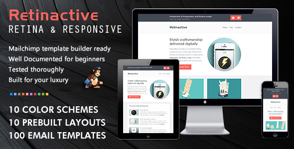 Retinactive responsive flat email template by bedros for Mailchimp ecommerce templates