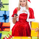 Christmas woman with mobile phone - PhotoDune Item for Sale