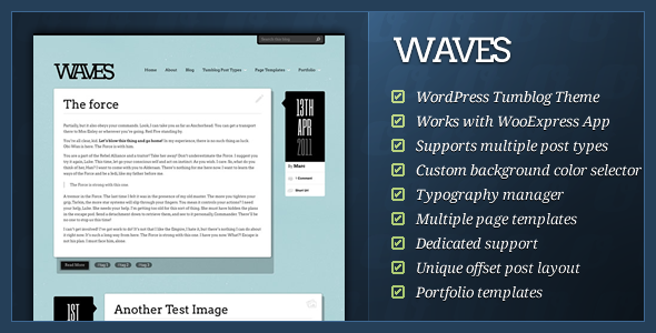 ThemeForest - Waves v1.1.1 - WordPress Tumblog Theme
