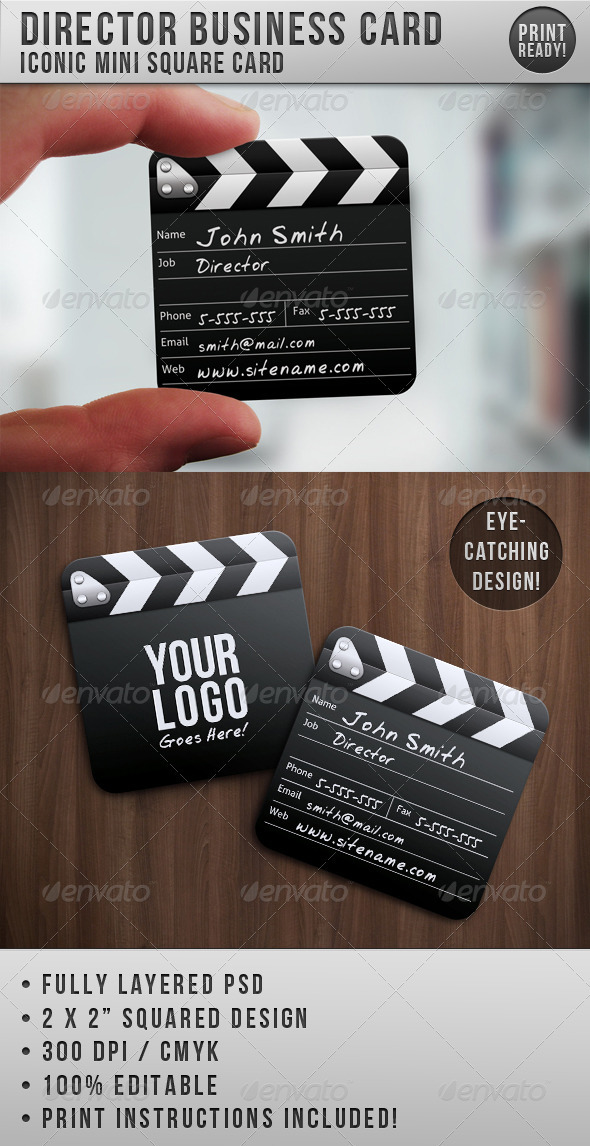 GraphicRiver Director Mini Squared Business Card 514485