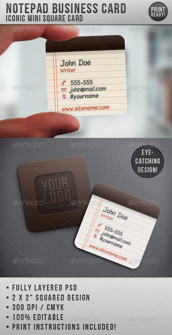GraphicRiver Notepad Iconic Business Card 514707