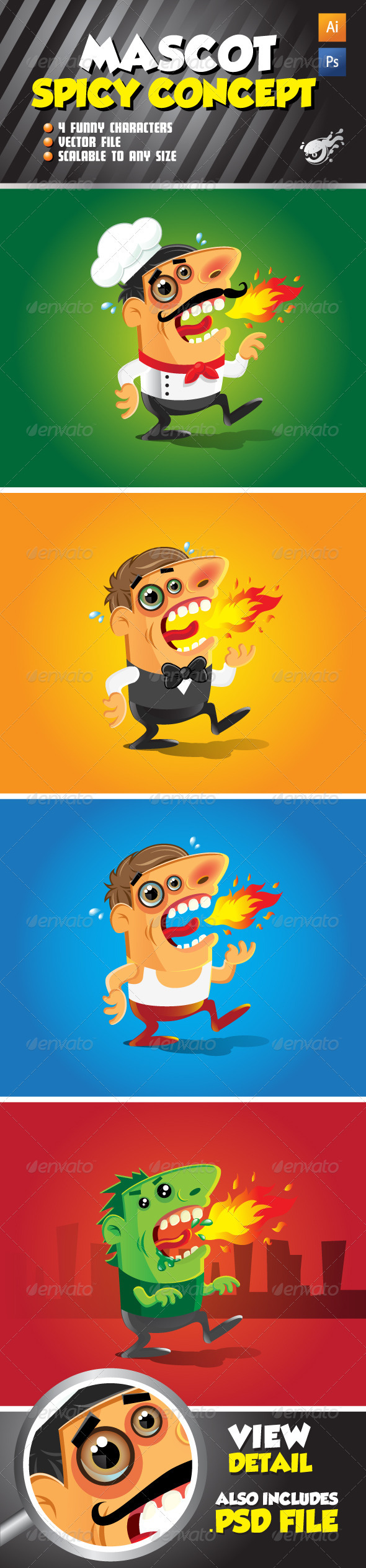 Graphic River Character Mascot Spicy Concept Set Vectors -  Characters  People 593994