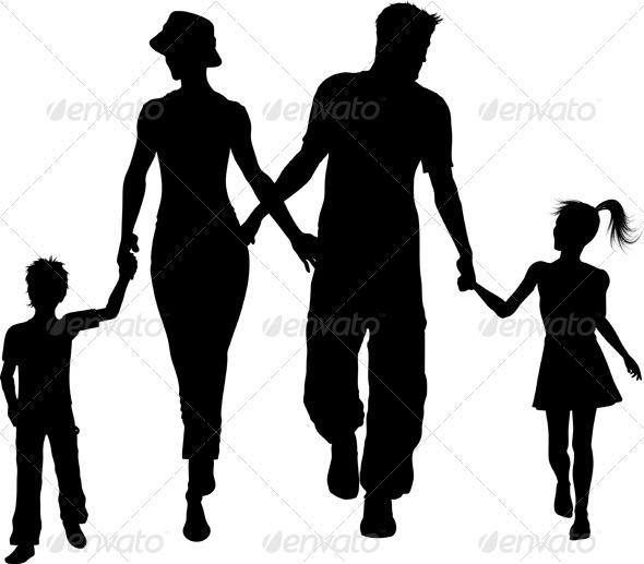 GraphicRiver Family silhouette 595083