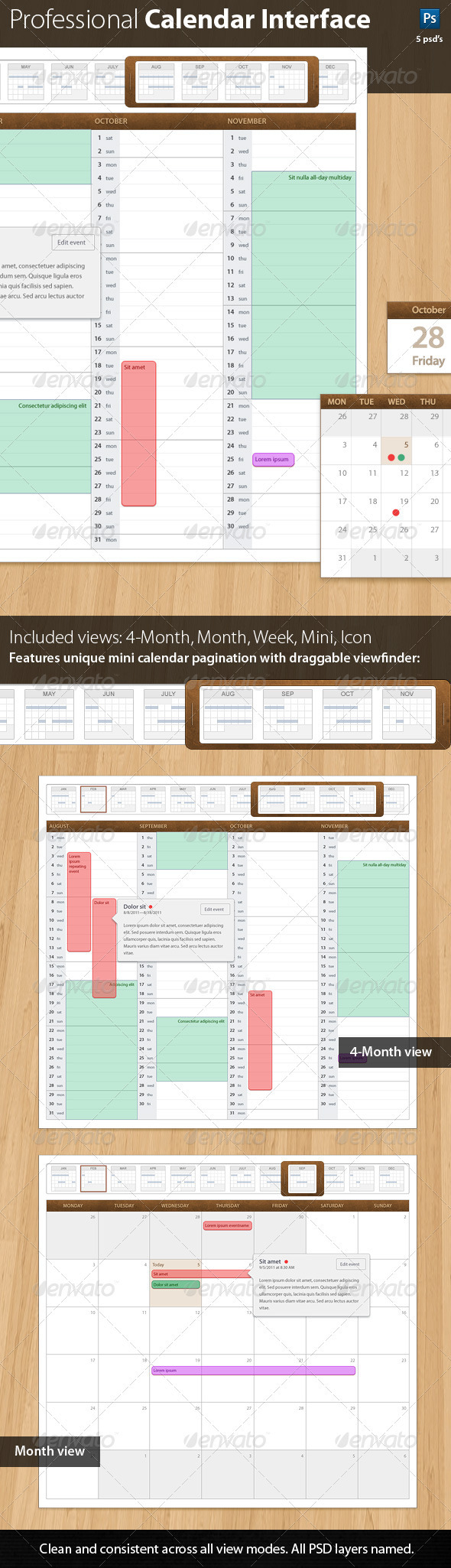 GraphicRiver Leatherbound 1.0 Professional Calendar Template 595468
