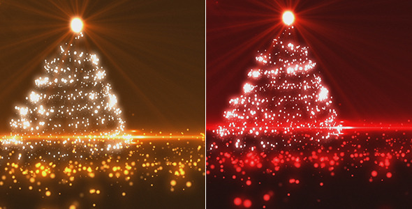 Motion Graphics - Gold And Red Christmas Tree