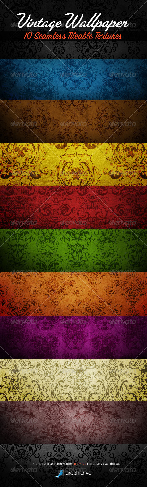 GraphicRiver 10 Seamless Vintage Wallpapers Tileable Textures 597633