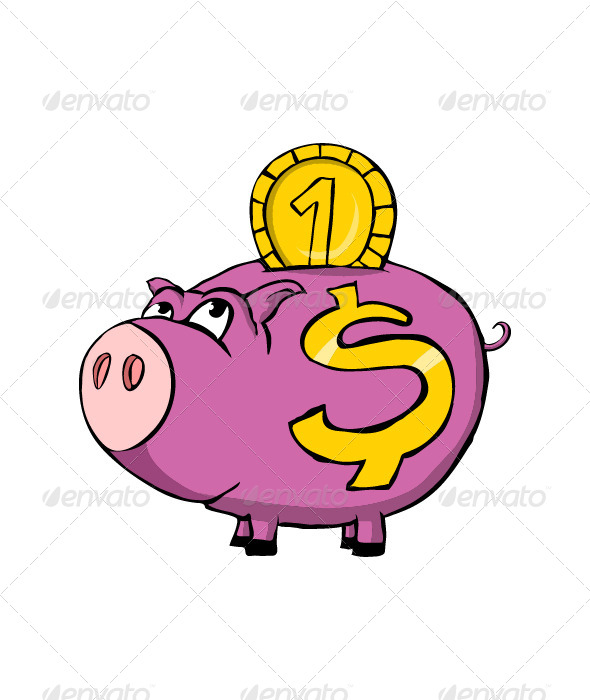 Cartoon Piggy Bank With Money