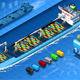 Isometric Cargo Ship with Containers in Front View - GraphicRiver Item for Sale