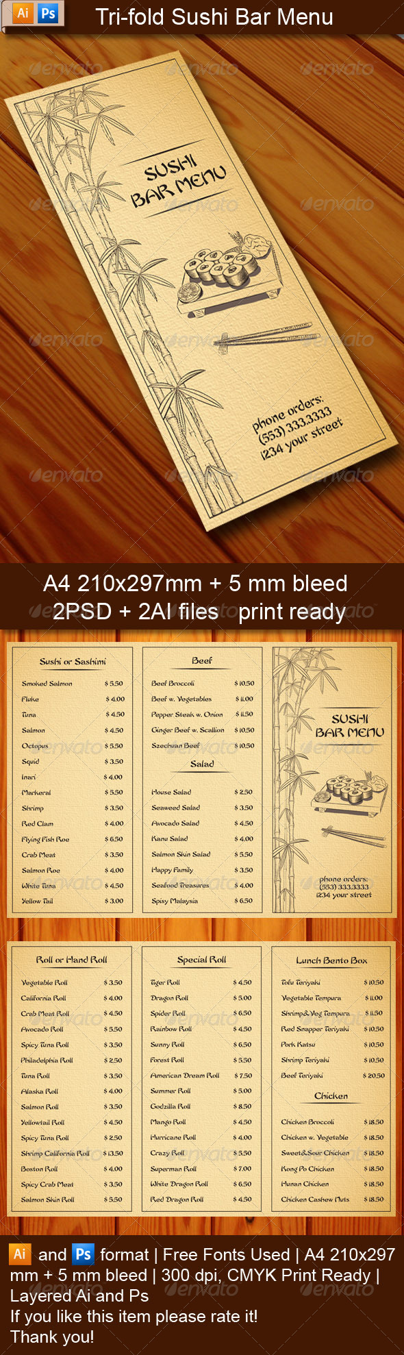 tri fold sushi bar menu template graphicriver. Black Bedroom Furniture Sets. Home Design Ideas