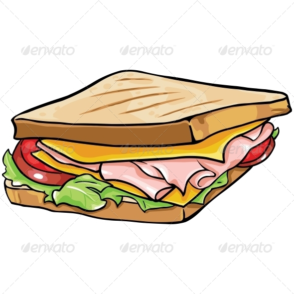 Vector Cartoon Sandwich with Ham and Vegetables | GraphicRiver