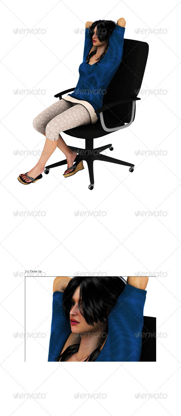 Graphic River Girl Sitting On Chair Relaxing Graphics -  3D Renders  Characters 607635