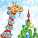 Christmas Card with Cartoon Giraffe and Cactus - GraphicRiver Item for Sale