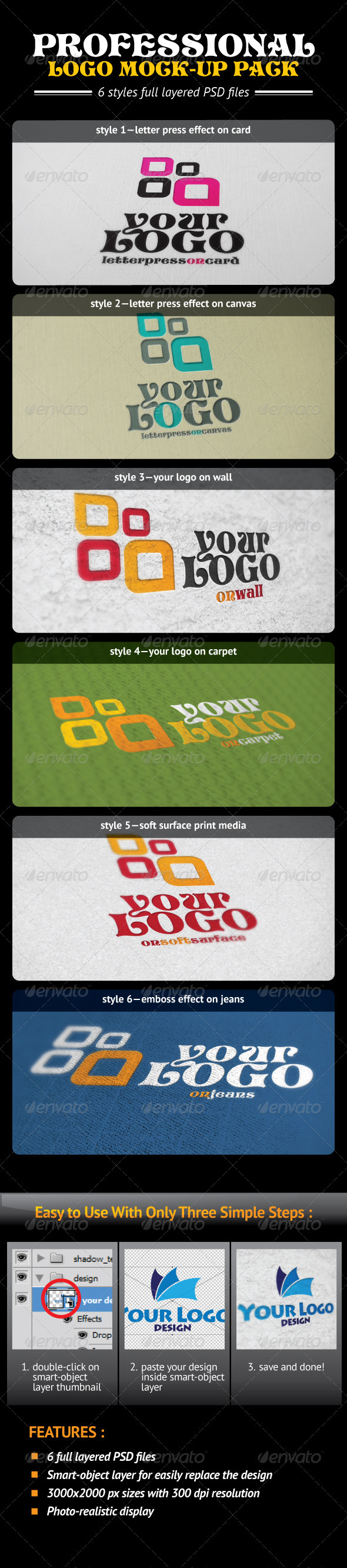 GraphicRiver Professional Logo Mock-Up Pack 610070