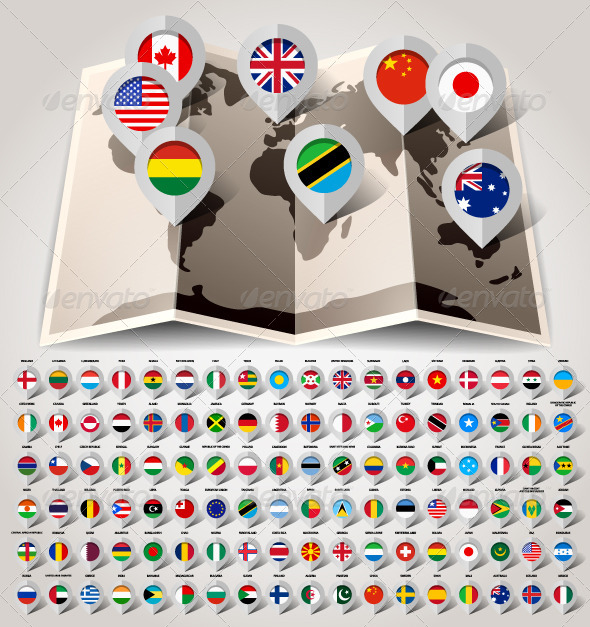 GraphicRiver Map World with Flags Big Set 108 Countries 5869818