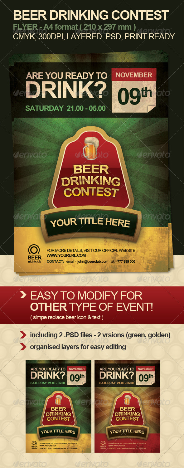 GraphicRiver Beer Drinking Contest Flyer 612538