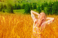 Cute girl on wheat field - PhotoDune Item for Sale