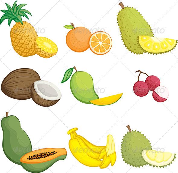 GraphicRiver Tropical Fruits Icons 5933775
