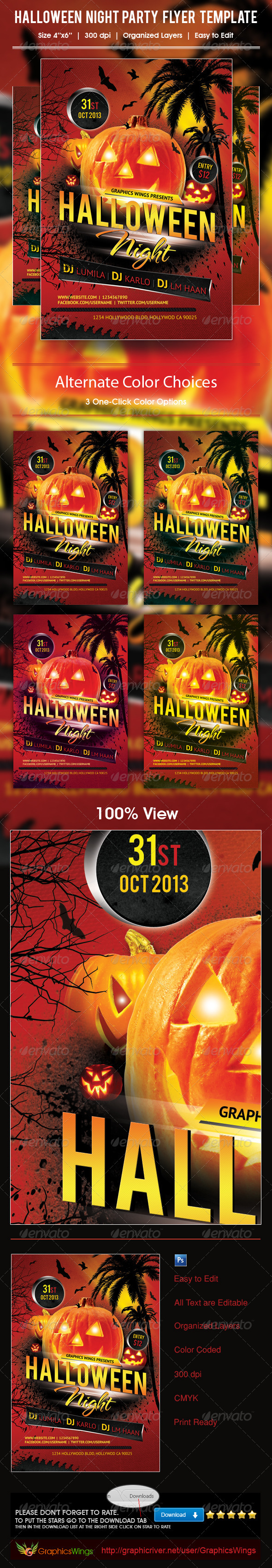 GraphicRiver Halloween Night Party Flyer Template 5942461