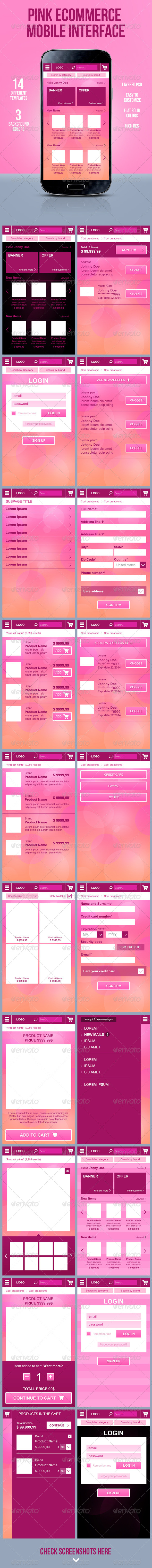 GraphicRiver Pink E-Commerce Mobile Interface 5944139