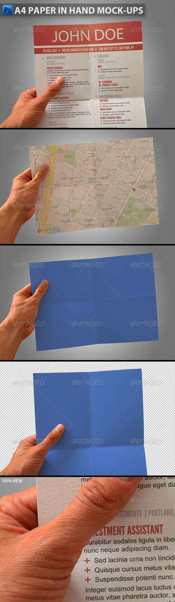 GraphicRiver A4 Paper in Hand Mock-ups 5948925