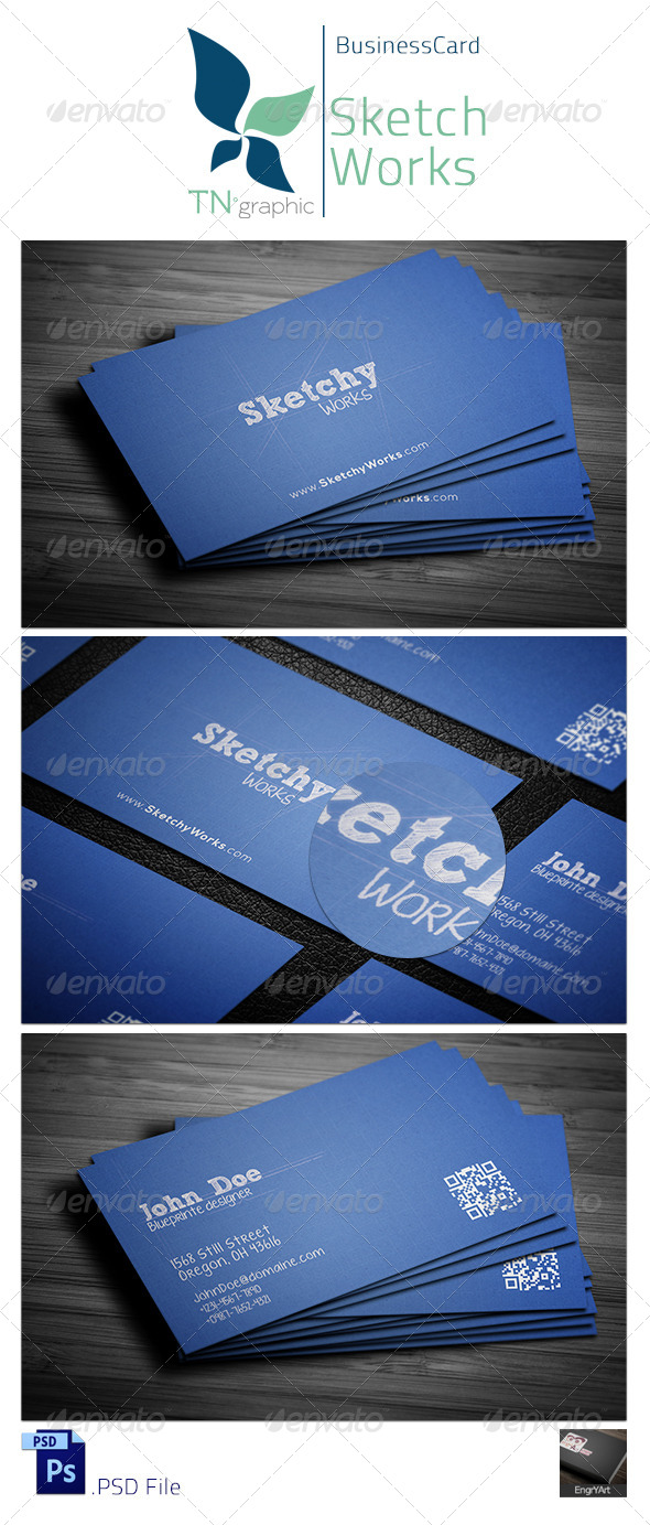 GraphicRiver Sketchy Works Business Card 5950614