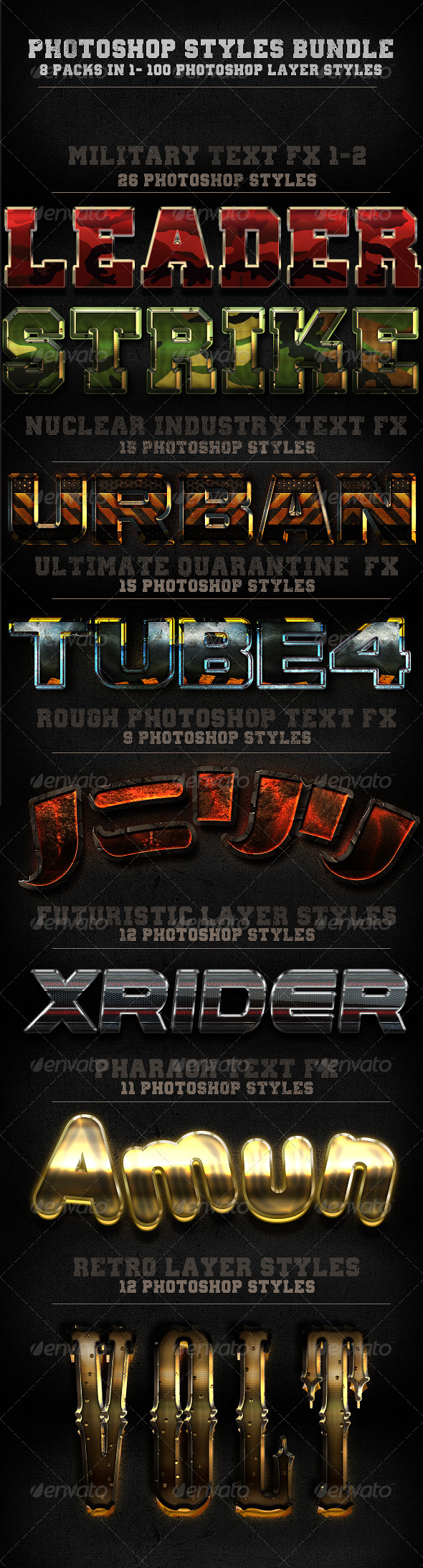 GraphicRiver 100 Photohop Styles 8 In 1-The Bundle 5951542