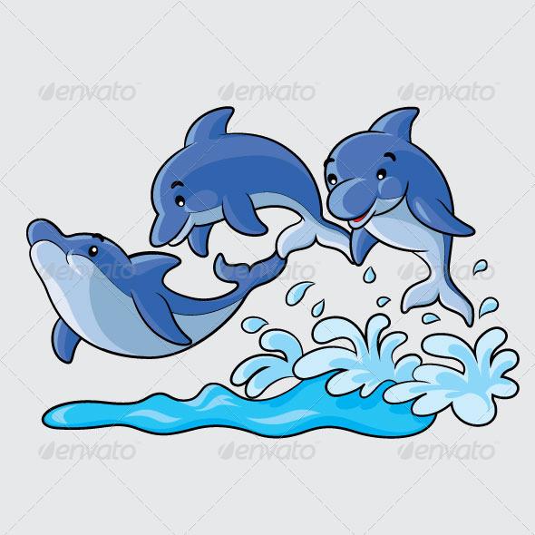 GraphicRiver Dolphins Cartoon 5954282