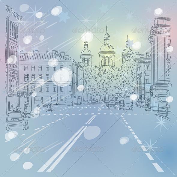 GraphicRiver Vector Cityscape Avenue with Church 5956947
