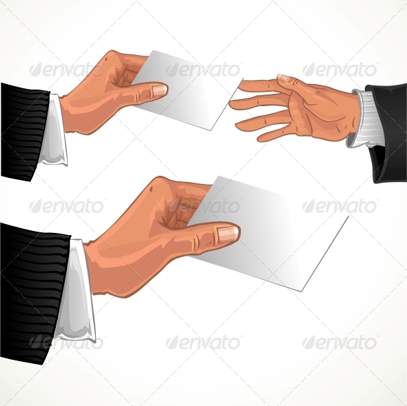 GraphicRiver Male Hand Pass White Glossy Business Card 5959294