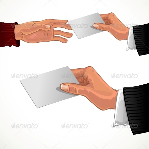 GraphicRiver Male Hand Pass White Business Card 5959301