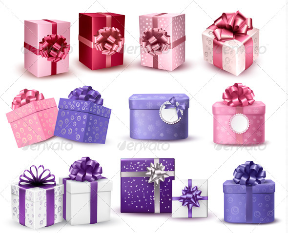 GraphicRiver Set of Colorful Gift Boxes with Bows and Ribbons 5959968