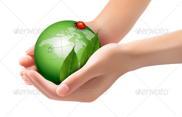 GraphicRiver Green World and Leaf have Love Bug in Woman Hands 5960014