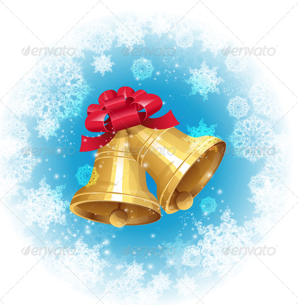 GraphicRiver Jingle Bells with Red Bow on Winter Background 5961260