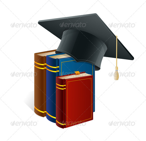 GraphicRiver Graduation Cap with Books 5961283