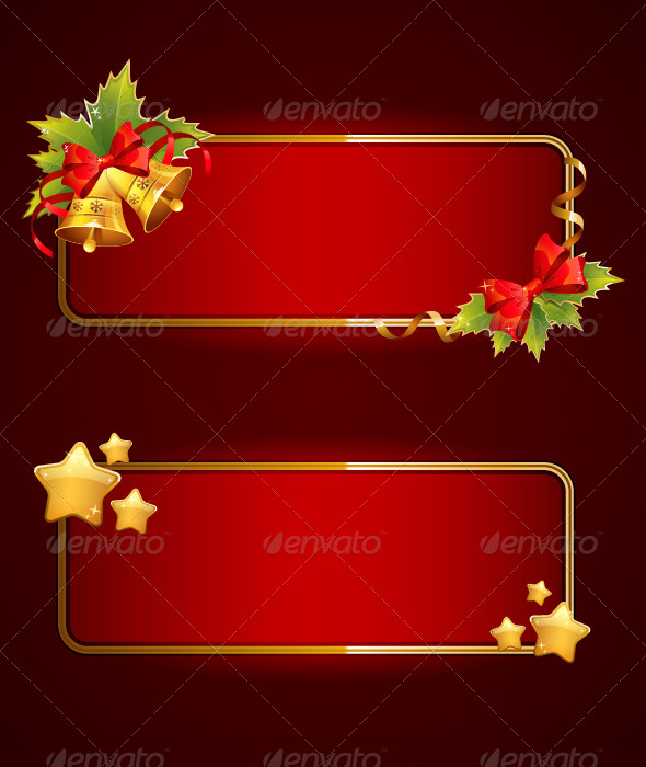 GraphicRiver Christmas Blank Banners Set With Bells 5961497
