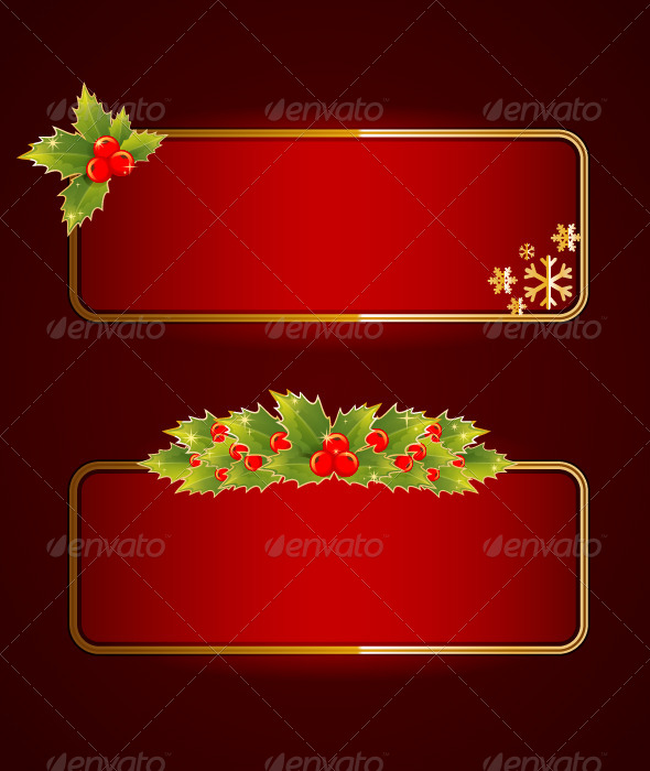 GraphicRiver Christmas Blank Banners Set with Holly Berries 5961500
