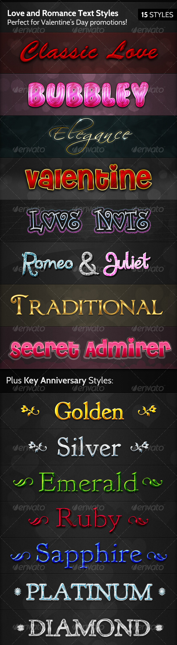 GraphicRiver Love and Romance Text Styles 154496