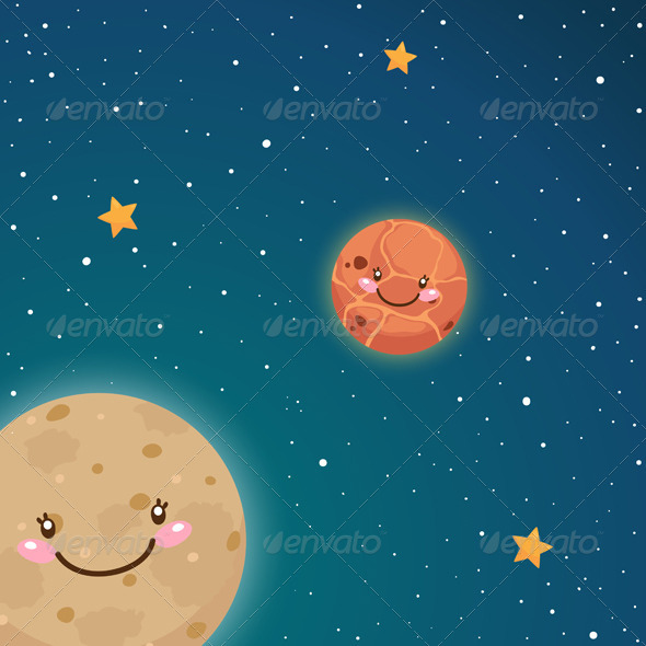 GraphicRiver Mercury and Venus in Space 5963417