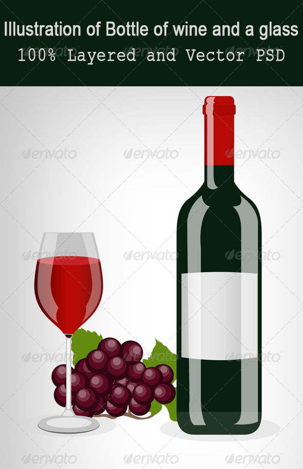 GraphicRiver Bottle of Wine And a Glass 5963904