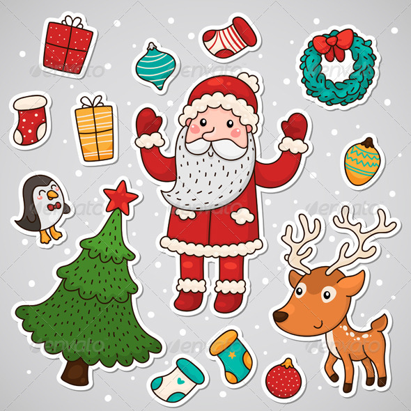 GraphicRiver Christmas and New Year Stickers 5964361
