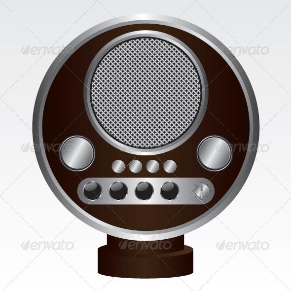 GraphicRiver Retro Radio Brown Illustration 5968749