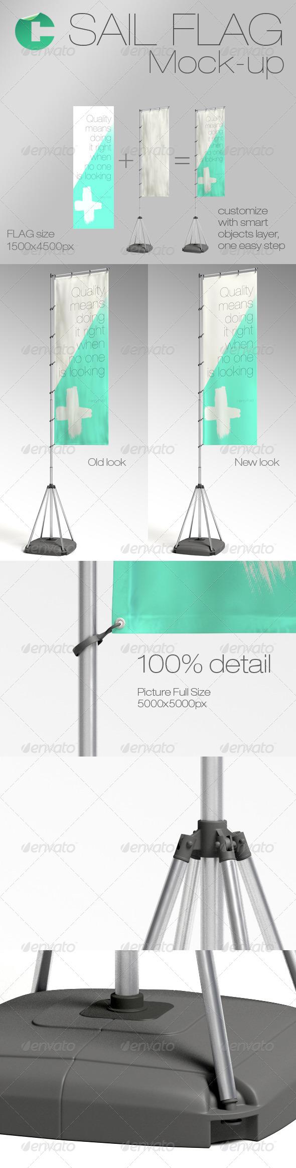 GraphicRiver Sail Flag Mock-up 5969790