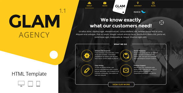 Glam Agency One Page Responsive Html5 Template