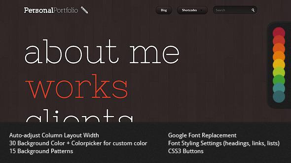 ThemeForest Personal Portfolio Creative Website Template 606839