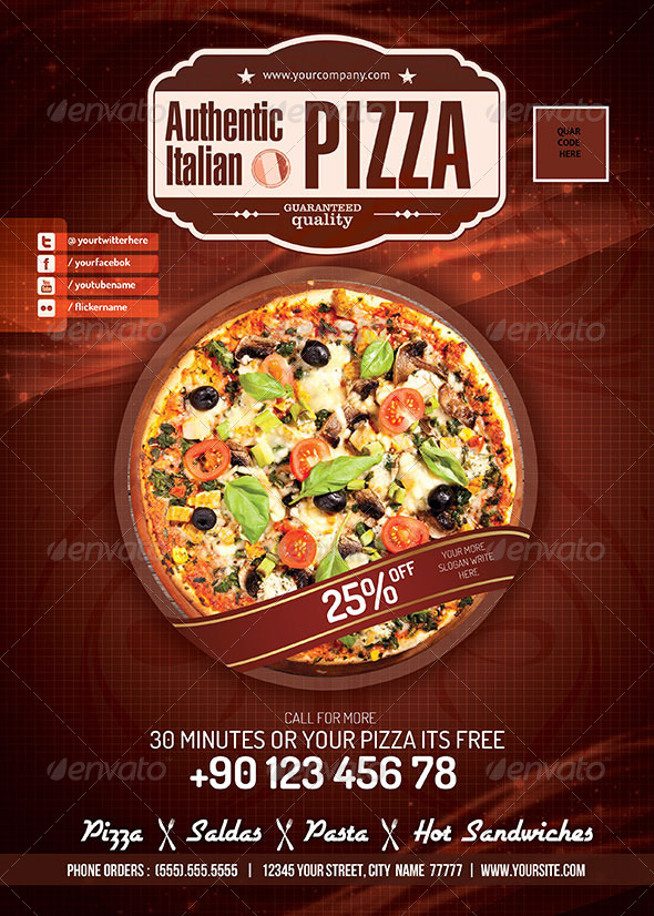 Pizza restaurant psd flyer graphicriver for Pizza sale flyer template