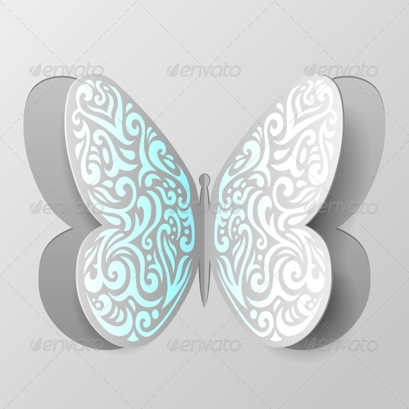 butterfly paper cut out template - abstract paper butterfly with tribal ornament graphicriver